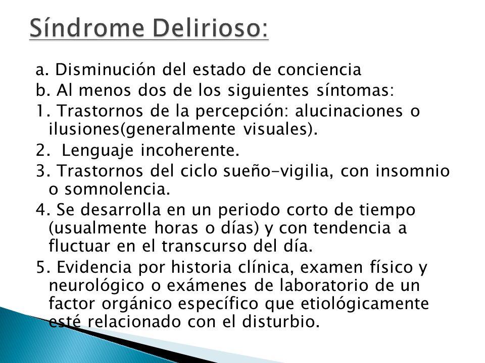 a. Disminución del estado de conciencia b. Al menos dos de los siguientes síntomas: 1. Trastornos de la percepción: alucinaciones o ilusiones(generalm