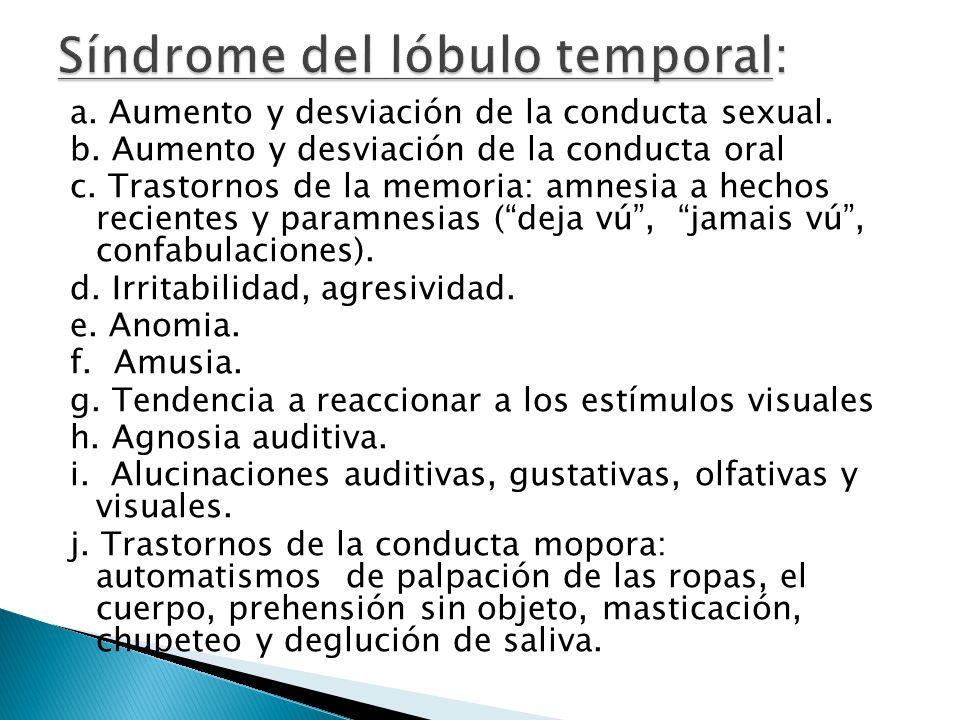 a. Aumento y desviación de la conducta sexual. b. Aumento y desviación de la conducta oral c. Trastornos de la memoria: amnesia a hechos recientes y p