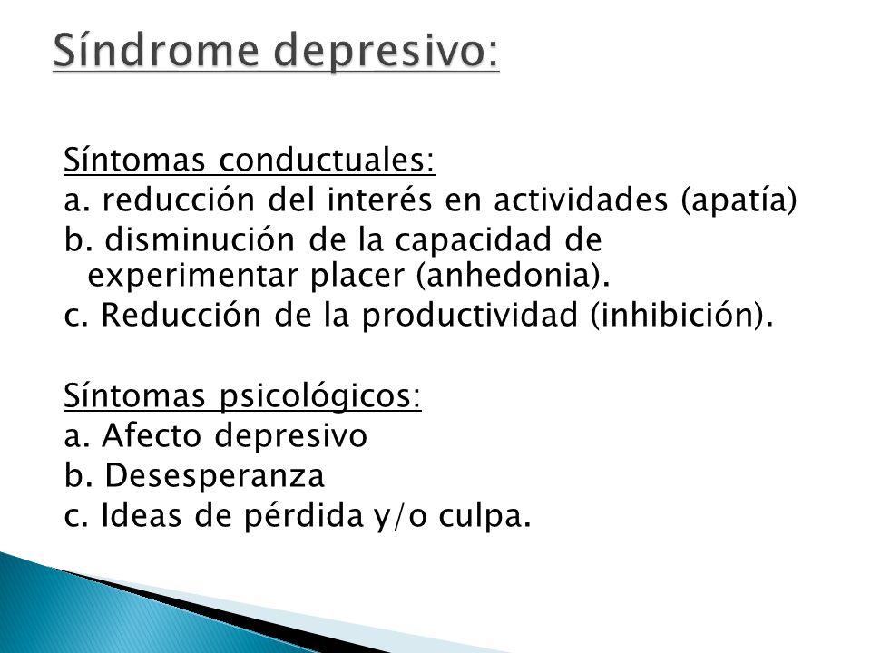 Síntomas conductuales: a. reducción del interés en actividades (apatía) b. disminución de la capacidad de experimentar placer (anhedonia). c. Reducció