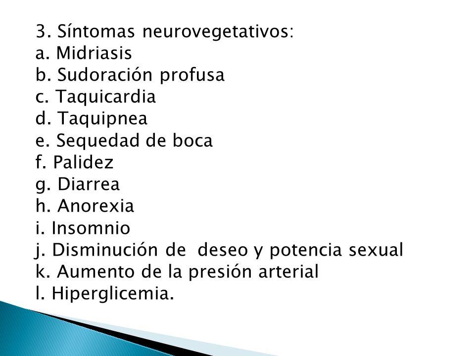 3. Síntomas neurovegetativos: a. Midriasis b. Sudoración profusa c. Taquicardia d. Taquipnea e. Sequedad de boca f. Palidez g. Diarrea h. Anorexia i.