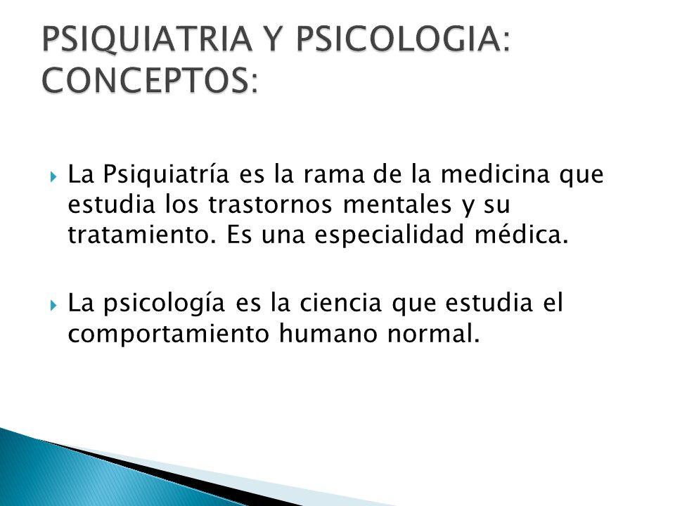 La Psiquiatría es la rama de la medicina que estudia los trastornos mentales y su tratamiento. Es una especialidad médica. La psicología es la ciencia