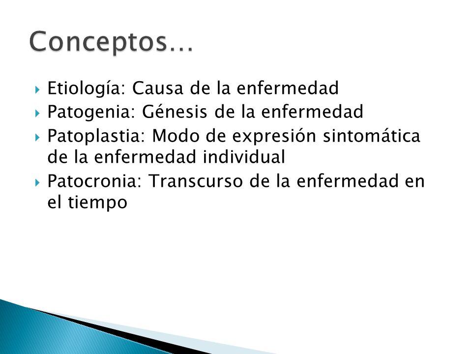 Etiología: Causa de la enfermedad Patogenia: Génesis de la enfermedad Patoplastia: Modo de expresión sintomática de la enfermedad individual Patocroni