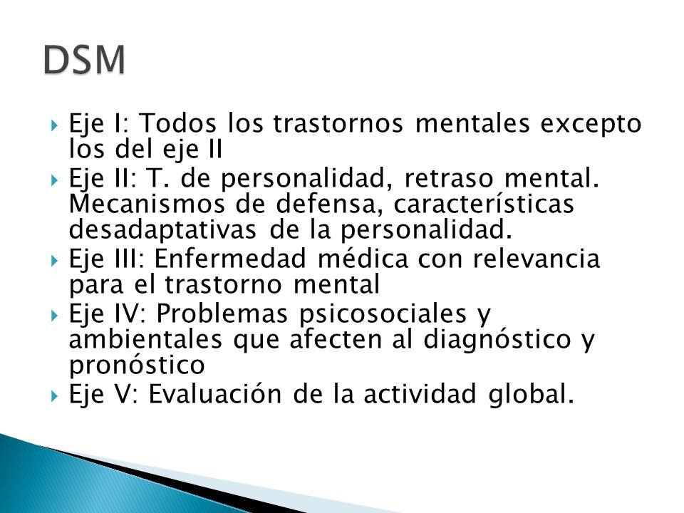 Eje I: Todos los trastornos mentales excepto los del eje II Eje II: T. de personalidad, retraso mental. Mecanismos de defensa, características desadap