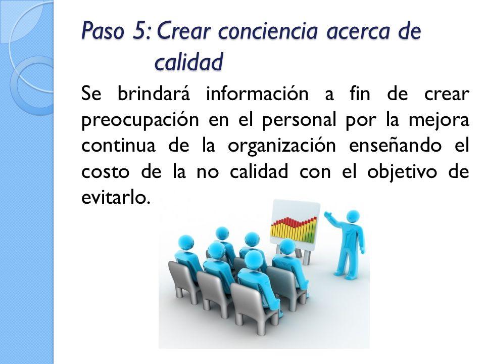 Paso 5: Crear conciencia acerca de calidad Se brindará información a fin de crear preocupación en el personal por la mejora continua de la organizació