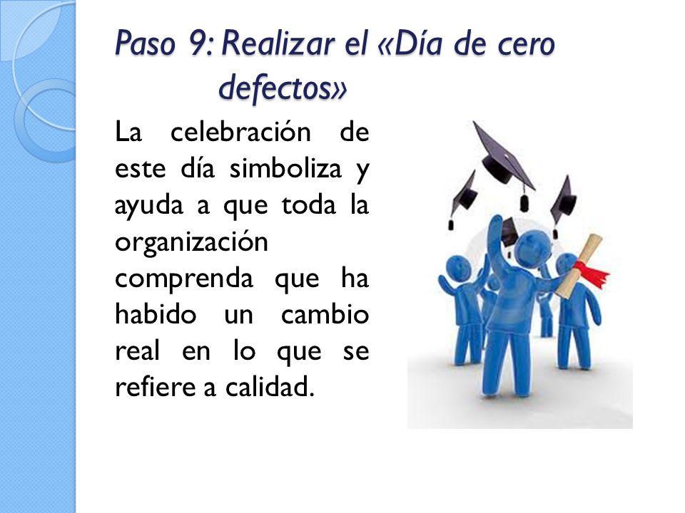 Paso 9: Realizar el «Día de cero defectos» La celebración de este día simboliza y ayuda a que toda la organización comprenda que ha habido un cambio r