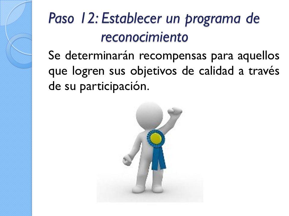 Paso 12: Establecer un programa de reconocimiento Se determinarán recompensas para aquellos que logren sus objetivos de calidad a través de su partici