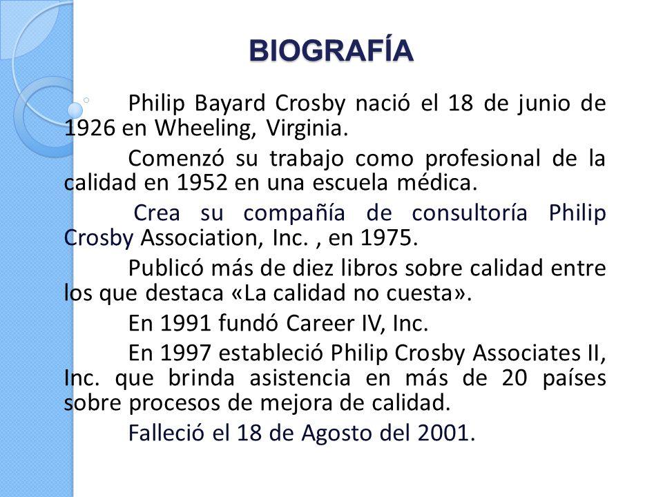 BIOGRAFÍA Philip Bayard Crosby nació el 18 de junio de 1926 en Wheeling, Virginia. Comenzó su trabajo como profesional de la calidad en 1952 en una es