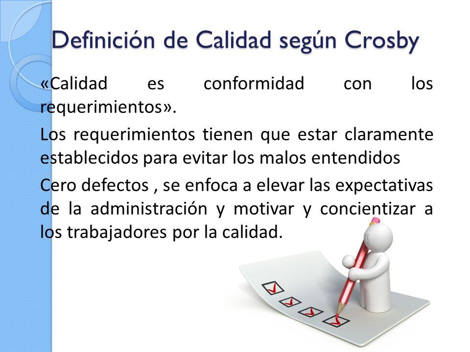 Definición de Calidad según Crosby «Calidad es conformidad con los requerimientos». Los requerimientos tienen que estar claramente establecidos para e