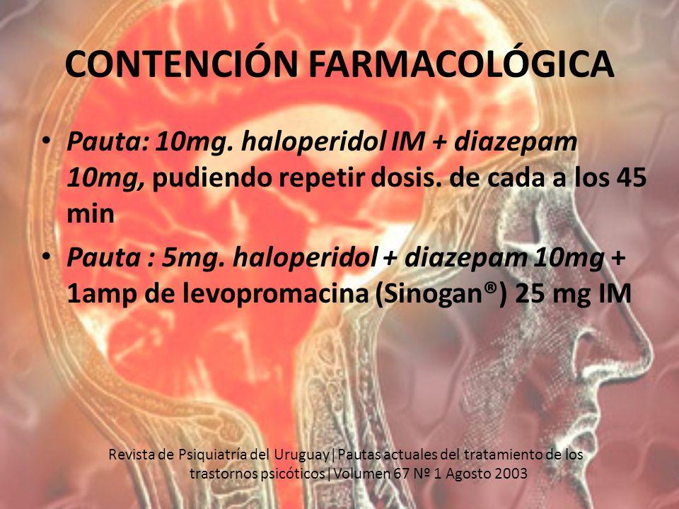 CONTENCIÓN FARMACOLÓGICA Pauta: 10mg. haloperidol IM + diazepam 10mg, pudiendo repetir dosis. de cada a los 45 min Pauta : 5mg. haloperidol + diazepam