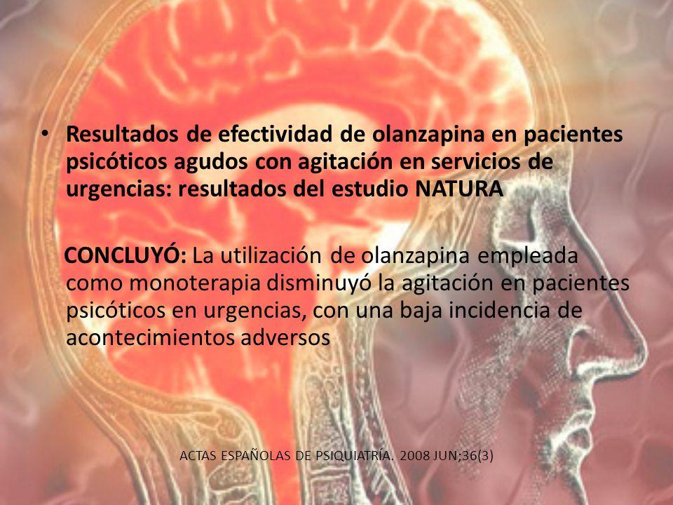 Resultados de efectividad de olanzapina en pacientes psicóticos agudos con agitación en servicios de urgencias: resultados del estudio NATURA CONCLUYÓ