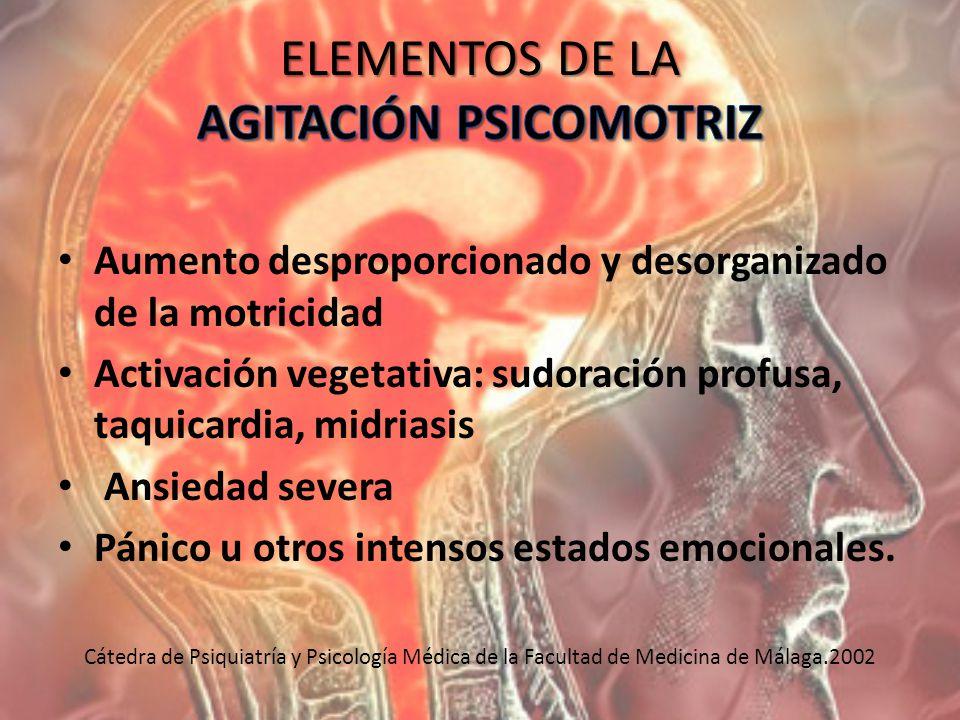Aumento desproporcionado y desorganizado de la motricidad Activación vegetativa: sudoración profusa, taquicardia, midriasis Ansiedad severa Pánico u o