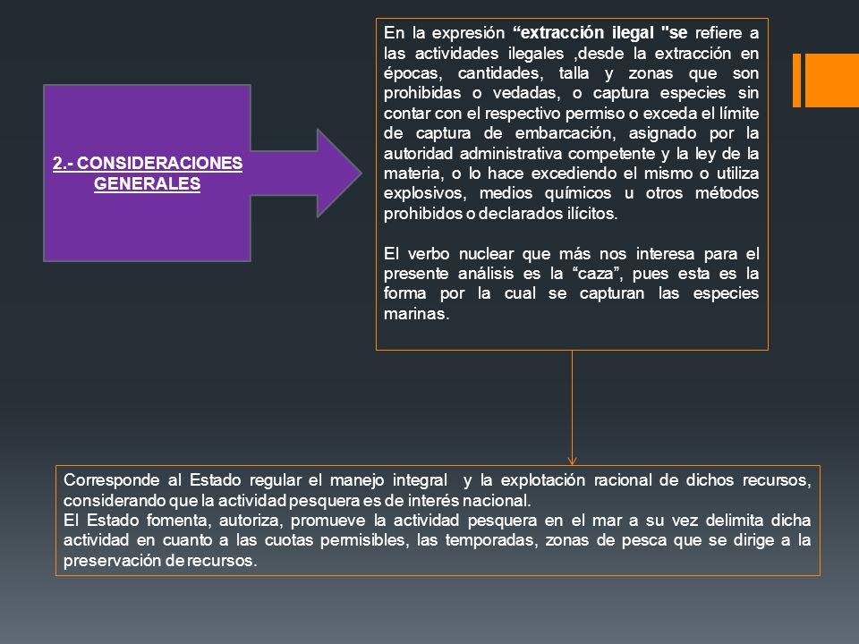 2.- CONSIDERACIONES GENERALES En la expresión extracción ilegal