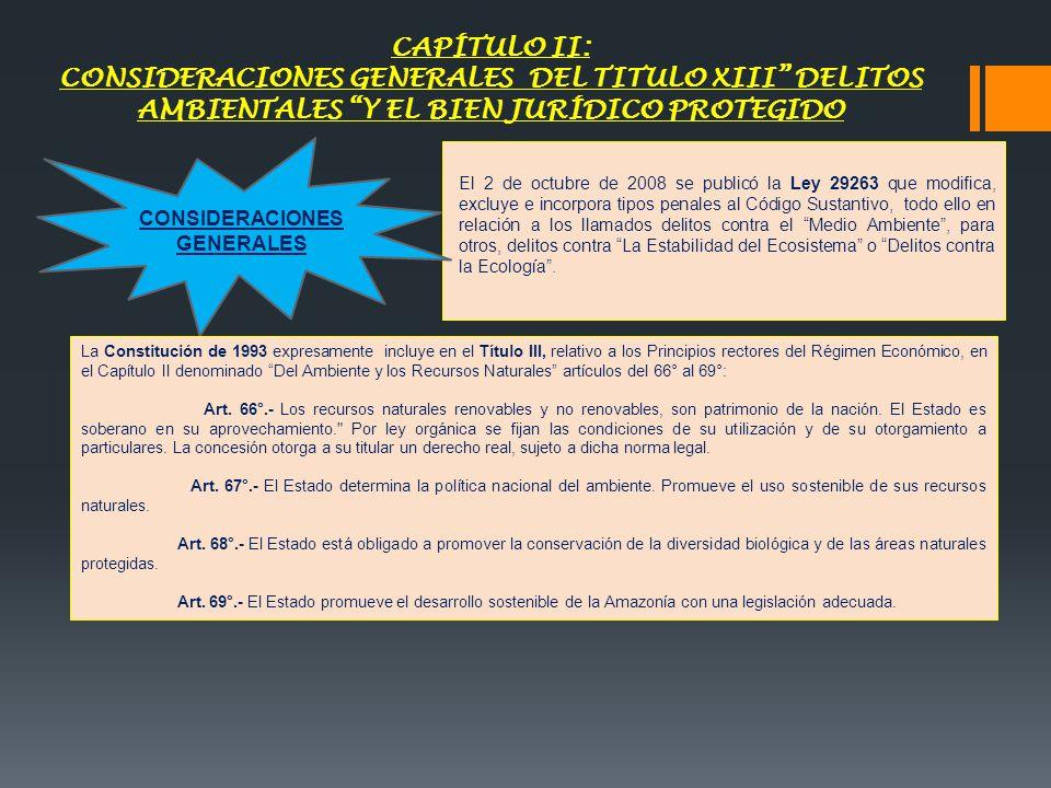 CAPÍTULO II: CONSIDERACIONES GENERALES DEL TITULO XIII DELITOS AMBIENTALES Y EL BIEN JURÍDICO PROTEGIDO El 2 de octubre de 2008 se publicó la Ley 2926