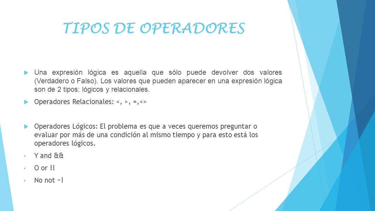 TIPOS DE OPERADORES Una expresión lógica es aquella que sólo puede devolver dos valores (Verdadero o Falso). Los valores que pueden aparecer en una ex