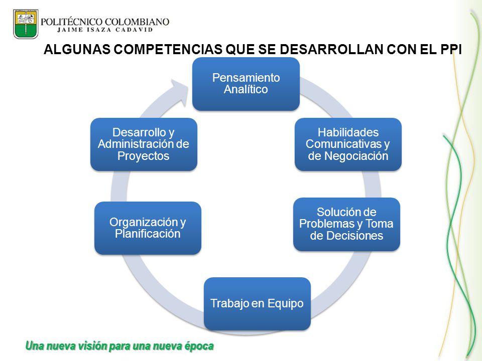 Pensamiento Analítico Habilidades Comunicativas y de Negociación Solución de Problemas y Toma de Decisiones Trabajo en Equipo Organización y Planifica
