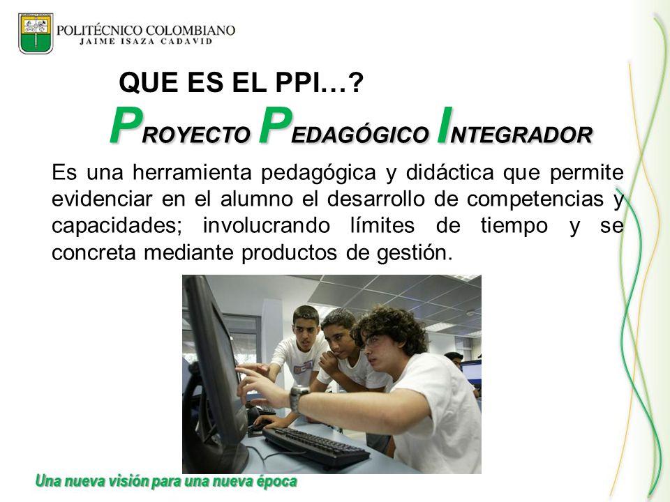 QUE ES EL PPI…? Es una herramienta pedagógica y didáctica que permite evidenciar en el alumno el desarrollo de competencias y capacidades; involucrand