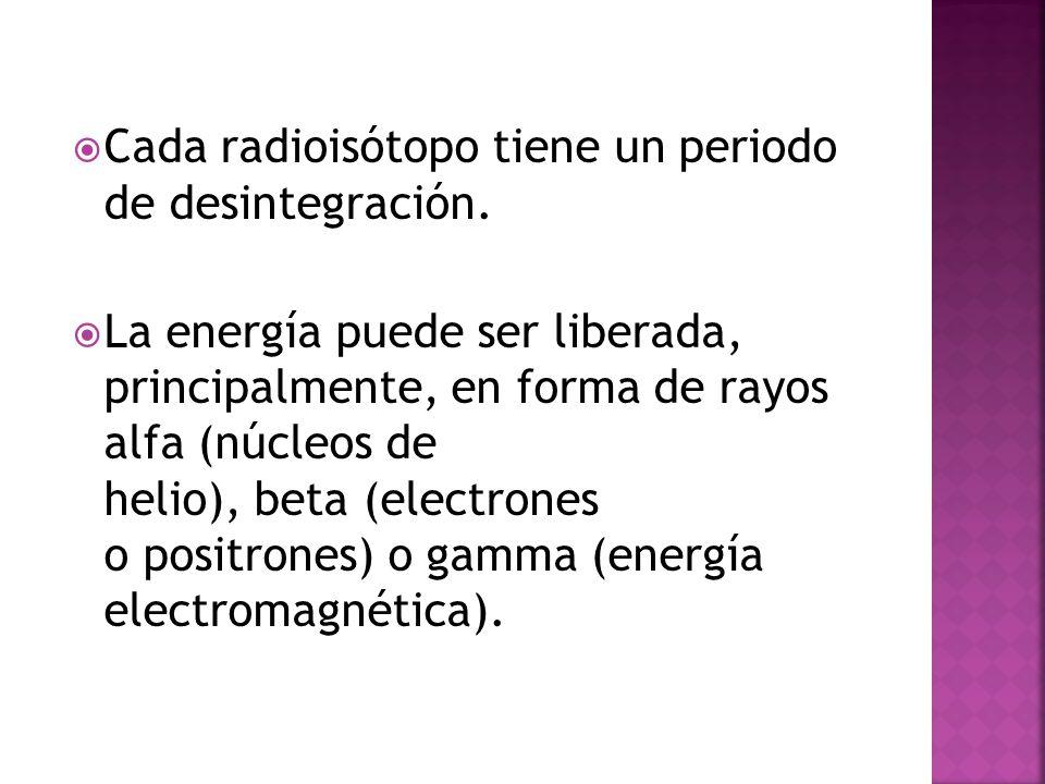 Cada radioisótopo tiene un periodo de desintegración. La energía puede ser liberada, principalmente, en forma de rayos alfa (núcleos de helio), beta (