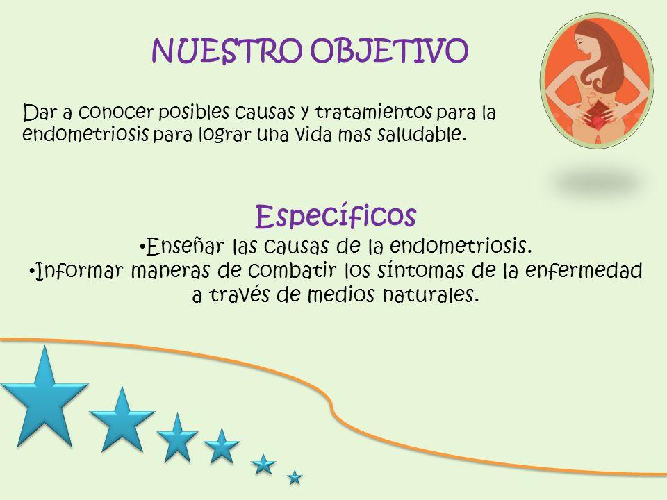 NUESTRO OBJETIVO Dar a conocer posibles causas y tratamientos para la endometriosis para lograr una vida mas saludable. Específicos Enseñar las causas