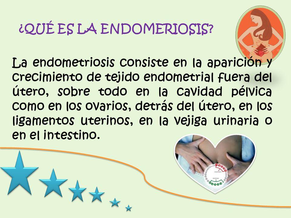 ¿QUÉ ES LA ENDOMERIOSIS? La endometriosis consiste en la aparición y crecimiento de tejido endometrial fuera del útero, sobre todo en la cavidad pélvi