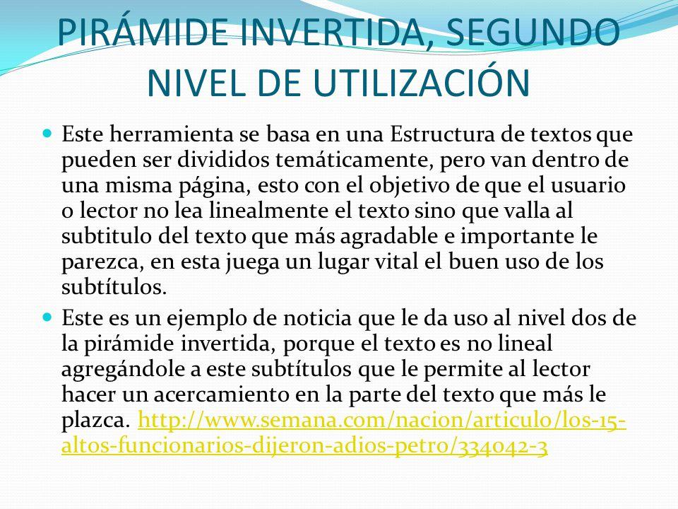 PIRÁMIDE INVERTIDA, TERCER NIVEL DE UTILIZACIÓN Son pirámides otantes ubicadas en diferentes páginas Web.
