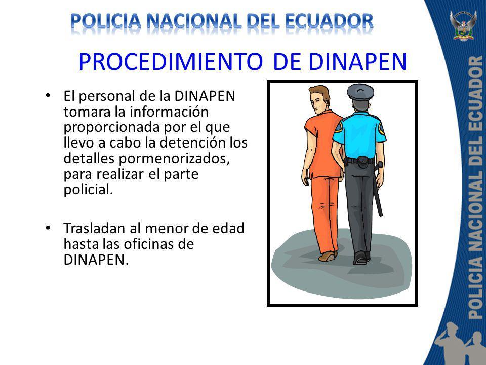 PROCEDIMIENTO DE DINAPEN El personal de la DINAPEN tomara la información proporcionada por el que llevo a cabo la detención los detalles pormenorizado