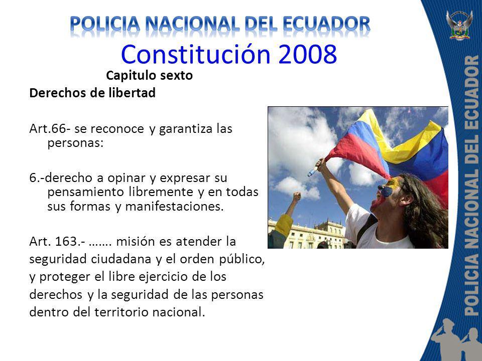 Constitución 2008 Capitulo sexto Derechos de libertad Art.66- se reconoce y garantiza las personas: 6.-derecho a opinar y expresar su pensamiento libr