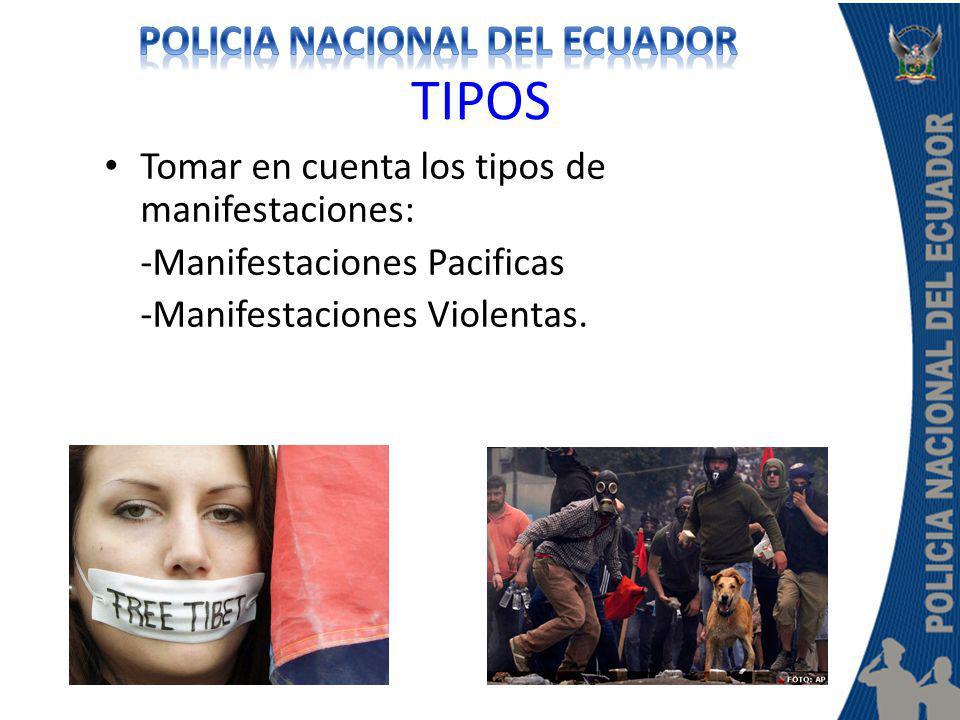 TIPOS Tomar en cuenta los tipos de manifestaciones: -Manifestaciones Pacificas -Manifestaciones Violentas.