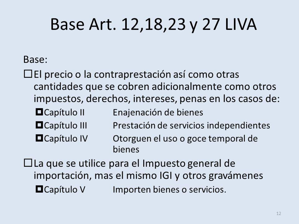 Base Art. 12,18,23 y 27 LIVA 12 Base: El precio o la contraprestación así como otras cantidades que se cobren adicionalmente como otros impuestos, der