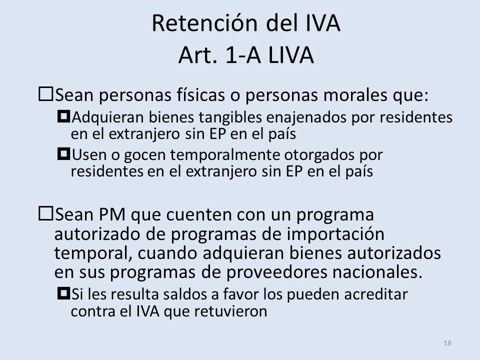Retención del IVA Art. 1-A LIVA 18 Sean personas físicas o personas morales que: Adquieran bienes tangibles enajenados por residentes en el extranjero