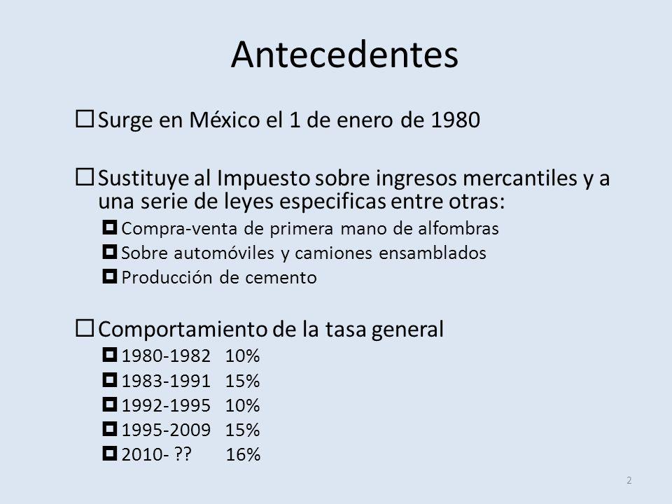 Antecedentes 2 Surge en México el 1 de enero de 1980 Sustituye al Impuesto sobre ingresos mercantiles y a una serie de leyes especificas entre otras: