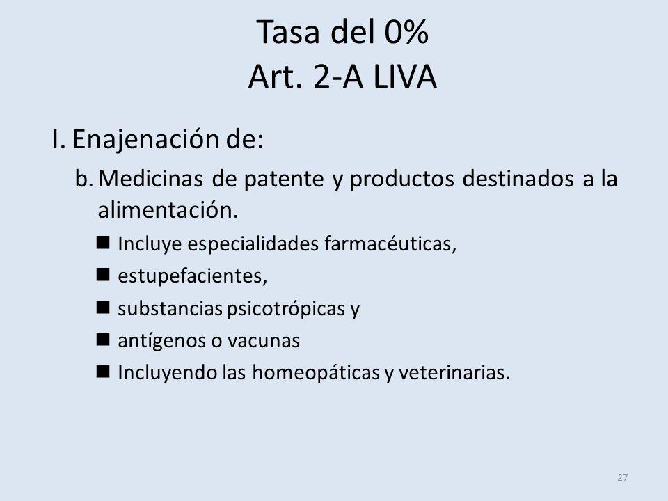 Tasa del 0% Art. 2-A LIVA 27 I.Enajenación de: b.Medicinas de patente y productos destinados a la alimentación. Incluye especialidades farmacéuticas,
