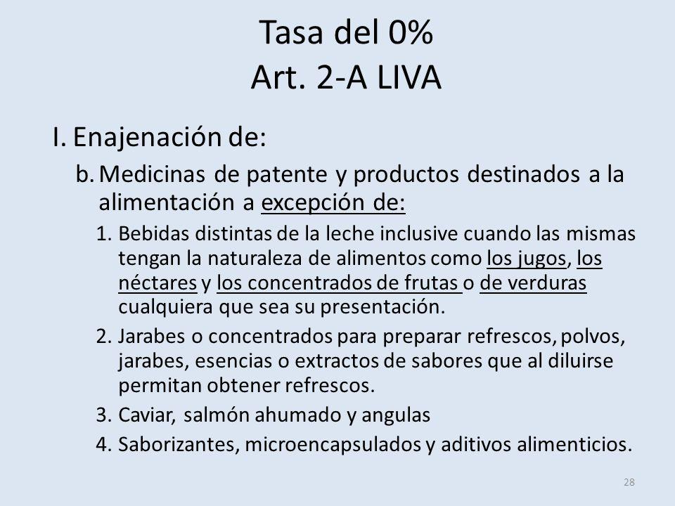 Tasa del 0% Art. 2-A LIVA 28 I.Enajenación de: b.Medicinas de patente y productos destinados a la alimentación a excepción de: 1.Bebidas distintas de
