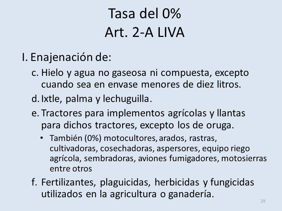 Tasa del 0% Art. 2-A LIVA 29 I.Enajenación de: c.Hielo y agua no gaseosa ni compuesta, excepto cuando sea en envase menores de diez litros. d.Ixtle, p
