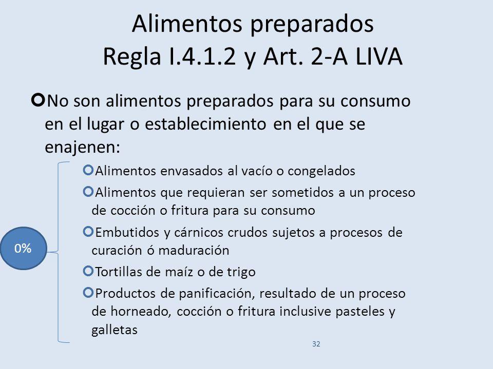 Alimentos preparados Regla I.4.1.2 y Art. 2-A LIVA No son alimentos preparados para su consumo en el lugar o establecimiento en el que se enajenen: Al