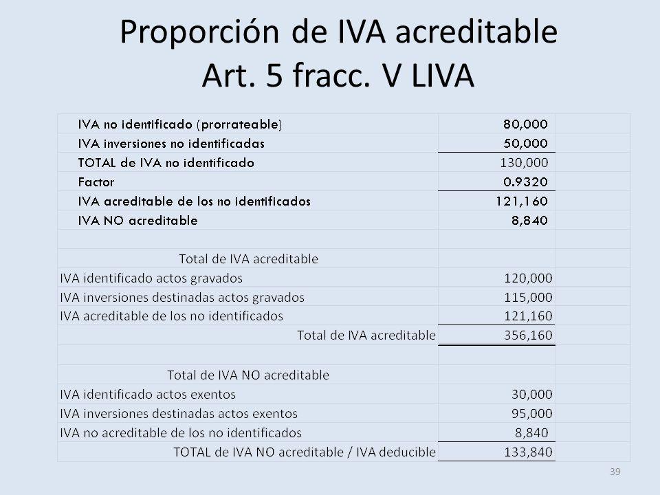 Proporción de IVA acreditable Art. 5 fracc. V LIVA 39