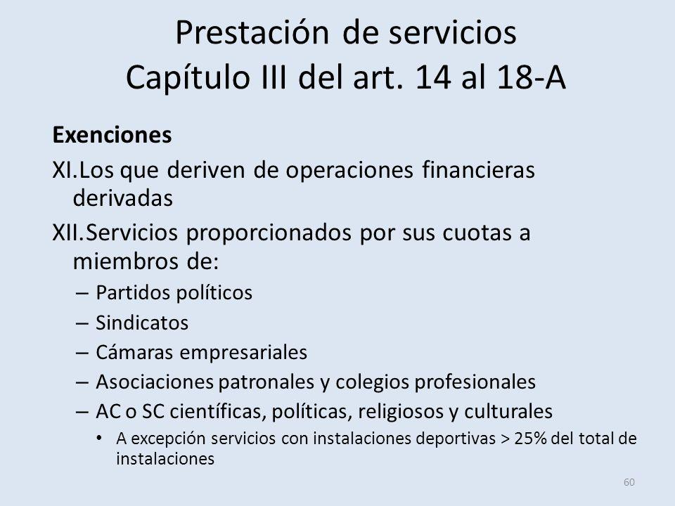 Prestación de servicios Capítulo III del art. 14 al 18-A Exenciones XI.Los que deriven de operaciones financieras derivadas XII.Servicios proporcionad