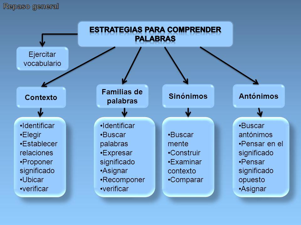 Ejercitar vocabulario Contexto Identificar Elegir Establecer relaciones Proponer significado Ubicar verificar Identificar Elegir Establecer relaciones