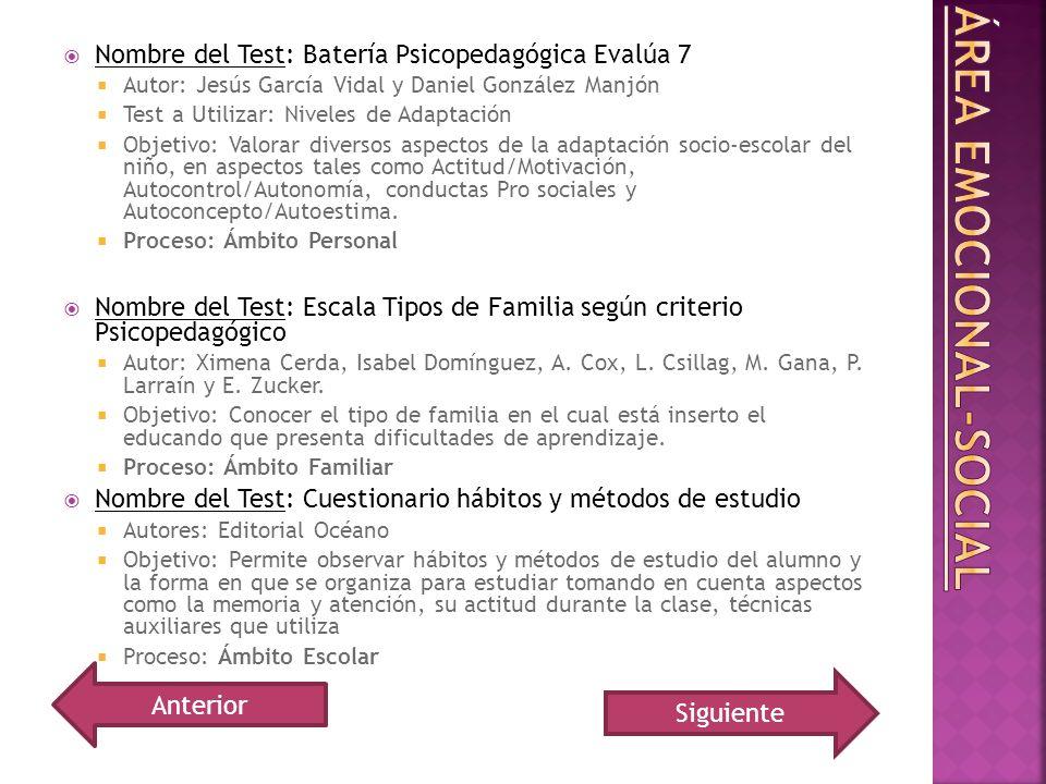 Nombre del Test: Batería Psicopedagógica Evalúa 7 Autor: Jesús García Vidal y Daniel González Manjón Test a Utilizar: Niveles de Adaptación Objetivo: