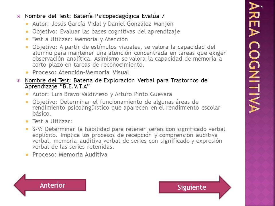 Nombre del Test: Batería Psicopedagógica Evalúa 7 Autor: Jesús García Vidal y Daniel González Manjón Objetivo: Evaluar las bases cognitivas del aprend