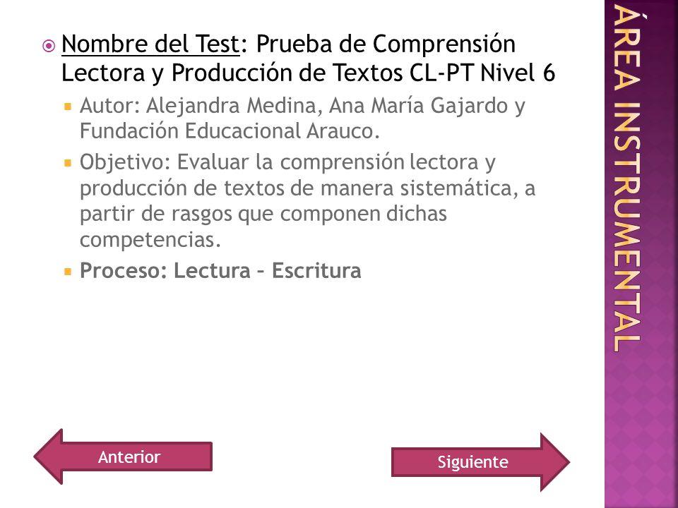 Nombre del Test: Prueba de Comprensión Lectora y Producción de Textos CL-PT Nivel 6 Autor: Alejandra Medina, Ana María Gajardo y Fundación Educacional