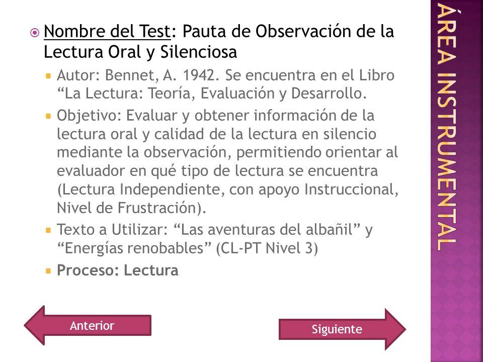 Nombre del Test: Pauta de Observación de la Lectura Oral y Silenciosa Autor: Bennet, A. 1942. Se encuentra en el Libro La Lectura: Teoría, Evaluación