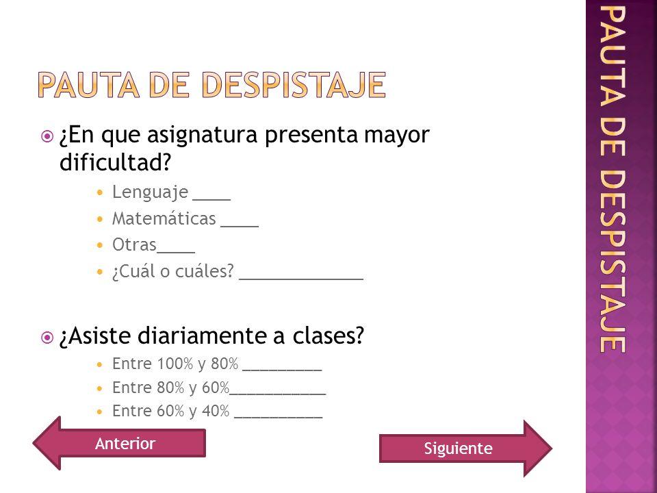 ¿En que asignatura presenta mayor dificultad? Lenguaje ____ Matemáticas ____ Otras____ ¿Cuál o cuáles? _____________ ¿Asiste diariamente a clases? Ent
