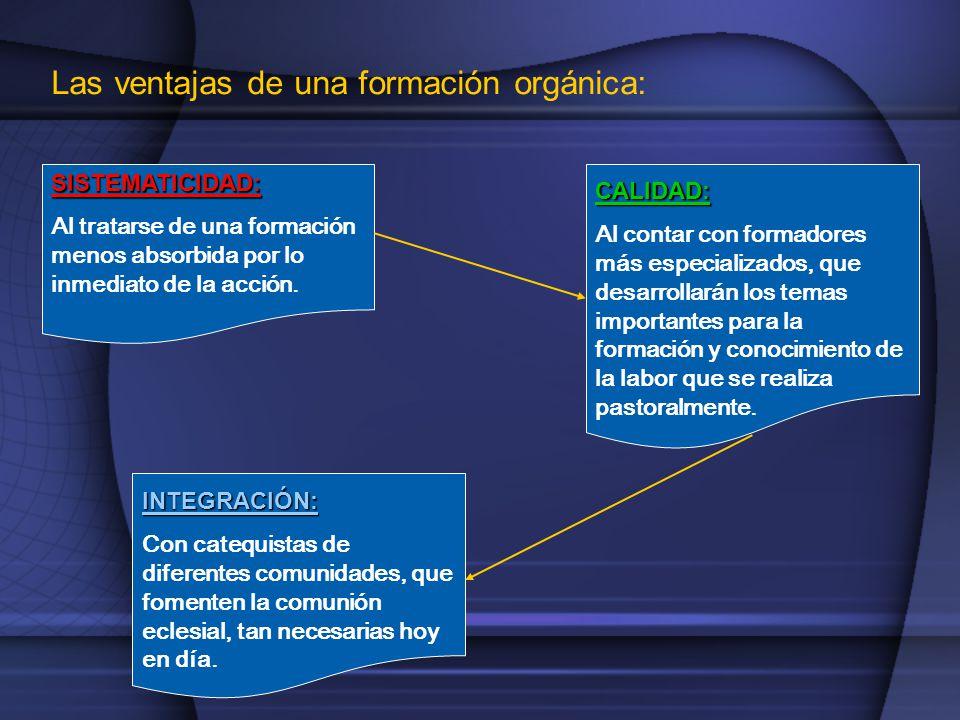 Las ventajas de una formación orgánica: SISTEMATICIDAD: Al tratarse de una formación menos absorbida por lo inmediato de la acción.