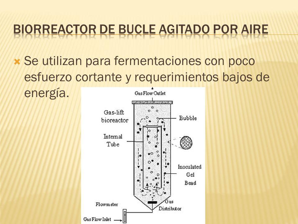 Se utilizan para fermentaciones con poco esfuerzo cortante y requerimientos bajos de energía.