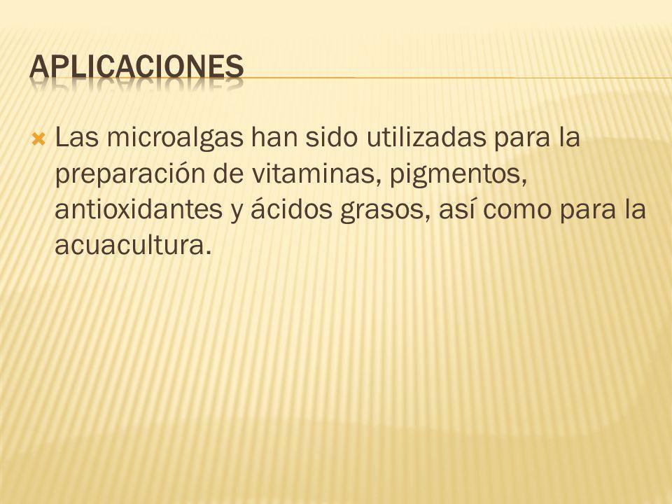 Las microalgas han sido utilizadas para la preparación de vitaminas, pigmentos, antioxidantes y ácidos grasos, así como para la acuacultura.