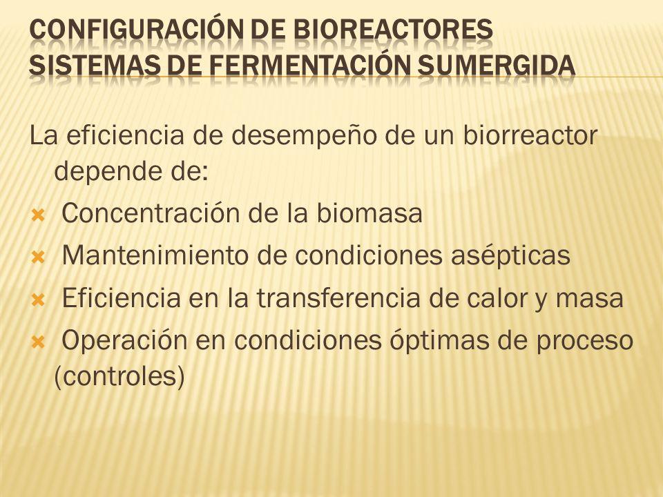 La eficiencia de desempeño de un biorreactor depende de: Concentración de la biomasa Mantenimiento de condiciones asépticas Eficiencia en la transfere