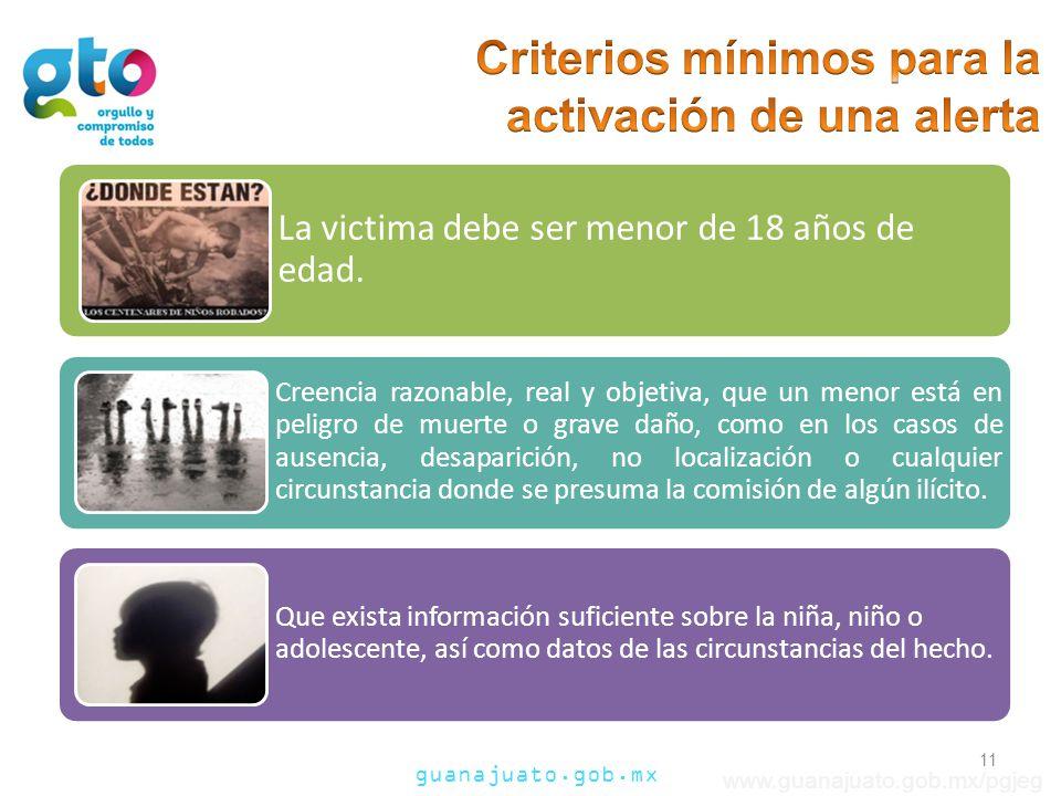 guanajuato.gob.mx www.guanajuato.gob.mx/pgjeg 11 La victima debe ser menor de 18 años de edad.