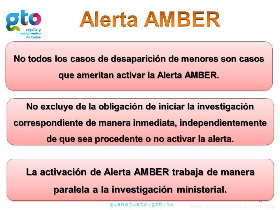 guanajuato.gob.mx www.guanajuato.gob.mx/pgjeg No todos los casos de desaparición de menores son casos que ameritan activar la Alerta AMBER. 12 La acti