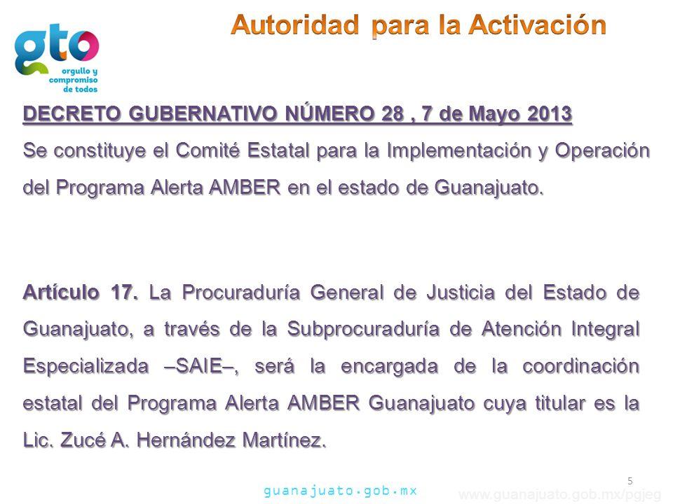 guanajuato.gob.mx www.guanajuato.gob.mx/pgjeg Es el número telefónico de la Procuraduría General de Justicia del Estado, para recibir llamadas de casos de Alerta AMBER Guanajuato: 01 800 DNUNCI A 01 800 3 68 62 42