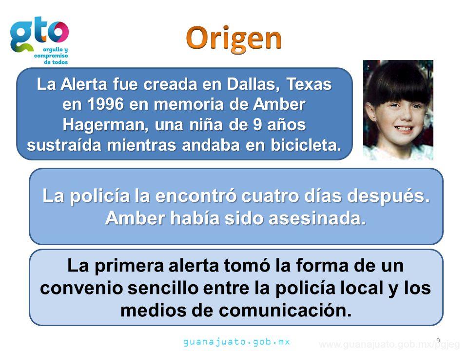guanajuato.gob.mx www.guanajuato.gob.mx/pgjeg La Alerta fue creada en Dallas, Texas en 1996 en memoria de Amber Hagerman, una niña de 9 años sustraída mientras andaba en bicicleta.